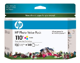 Genuine OEM HP Q8700BN (HP 110) Tri-Color Inkjet Cartridge (Value Pack) 140 Sheets Paper,
