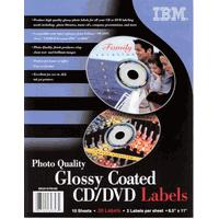 IBM Impreso 01P8195 Inkjet Glossy Coated CD/DVD Labels, 2up, 8.5 in x 11 in, 10 sheets, 20 labels