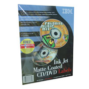 IBM Impreso 01P8193 Matte Coated CD/DVD Labels, Letter, 8.5 in x 11 in, 2up, 10 Sheets, 20 Labels