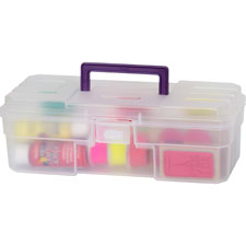 "Supply Box, 6""x12""x4"", Plastic, Clear/Purple"