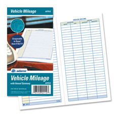 "Vehicle Mileage Log Book, 32 Pages, 3-1/4""x6-1/4"", White"