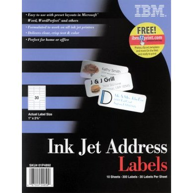 IBM Impreso 01P4892 Inkjet Address Labels 2 5/8 x 1 in, 8.5 in x 11 in Paper, 30up, 10 Sheets